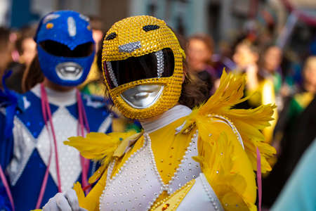 LOULE, PORTUGAL - FEBRUARY 2020: Colorful Carnival (Carnaval) Parade festival participants on Loule city, Portugal.