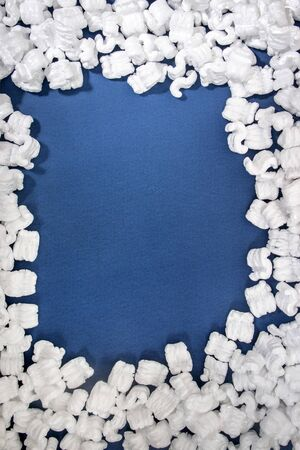 Polystyrene  packing pieces used for minimize bumps in transportation of goods. Stock Photo