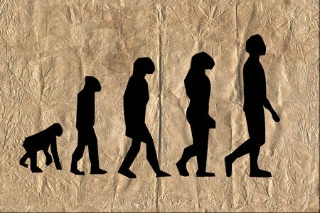 Evolution darwinism theory of man on very old wrinkle paper.