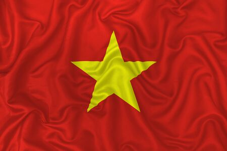 Vietnam country flag on wavy silk textile fabric background.