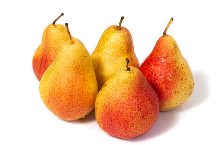Group of forelle red and yellow pears isolated on a white background.