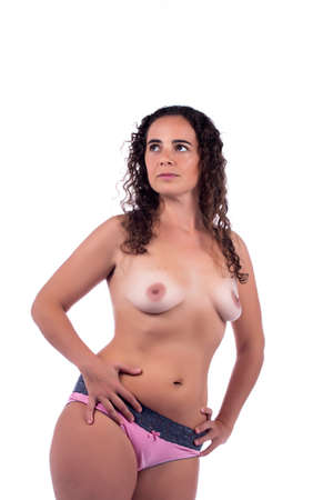 beautiful chest woman on a white background.