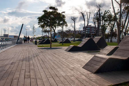 Beautiful view of the relaxing Park Patrao Joaquim Lopes on Olhao city, Portugal.