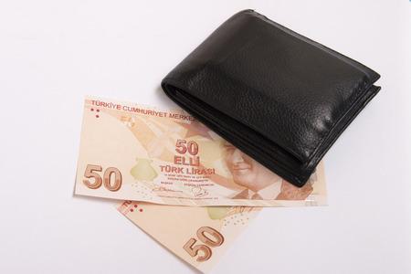 turkish lira: wallet and turkish lira Stock Photo