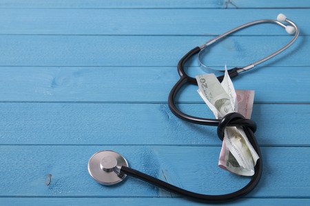 turkish lira: stethoscope and turkish lira Stock Photo