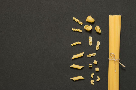 calory: macaroni background and empty table