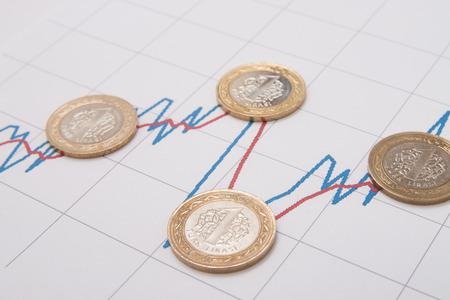 turkish lira: Turkish Lira and stock exchange graphic