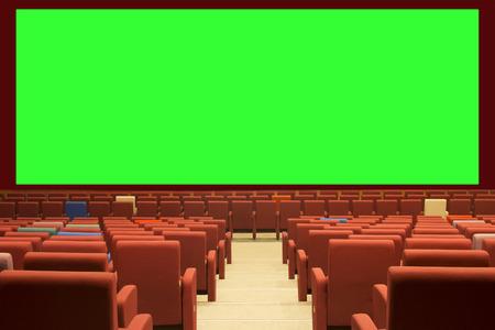 緑のシネマ スクリーンと赤シート 写真素材 - 75981544