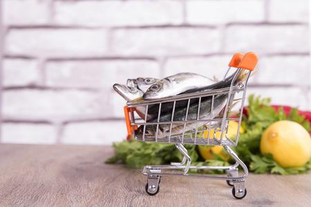 fish in shopping cart