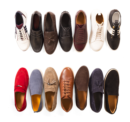 isolated different shoes on white