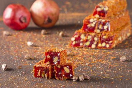 delicia turca con azafrán, granada y pistacho