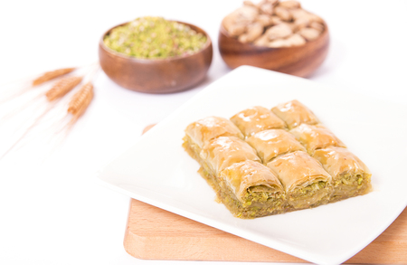 traditional pistachio baklava plate