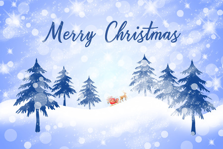 merry christmas text writing on snowy landscape with santa Banque d'images - 115525130