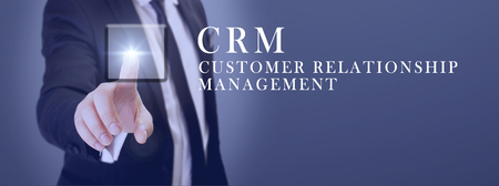 manager touch crm customer relationship management button