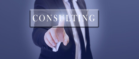 businessman touch consulting word on touch screen Stock Photo