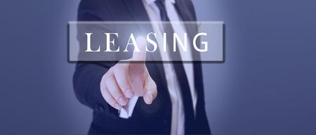 businessman touch leasing word on digital screen