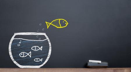 entrepreneurship concept. Fish is leaving the herd