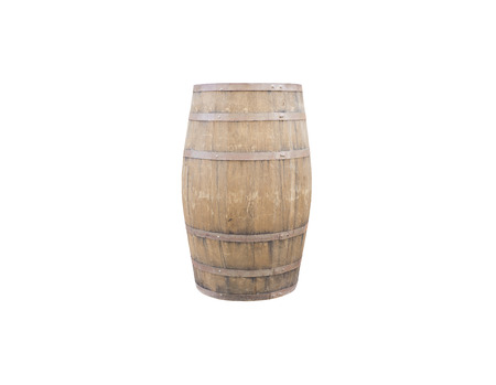 isolated old wooden barrel on white background