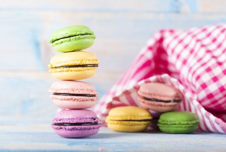 macarons lined up in a row