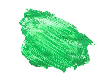 bright green paint painted by brush on white background