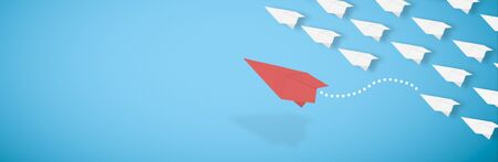 3d rendering, red paper airplane is leaving the herd