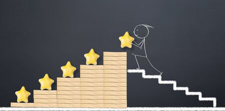 customer experience concept. man places 5 yellow stars for perfect business Stok Fotoğraf