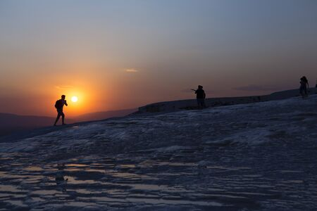 Pamukkale travertine and sunset