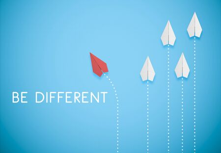 be different concept. red paper airplane is flying in different direction from white paper airplanes