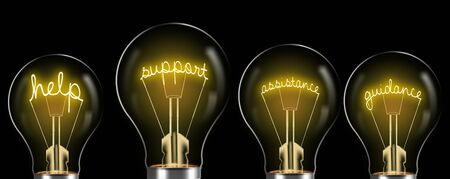 support services concept. support word in the bulb and bright