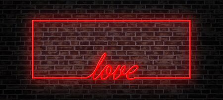 red neon frame and love word on the brick wall 版權商用圖片