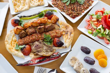 turkish kebab and appetizer plates