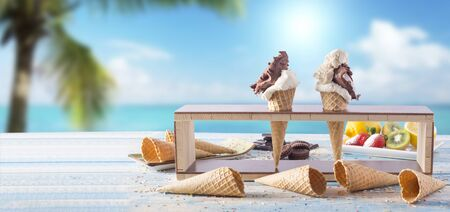 ice cream and empty cones at the seaside on the blue table