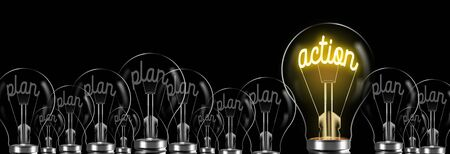 plan and action word writing in the bulb. planning and action concept in business