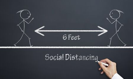 The concept of social distance between people. 6 feet distance between two people.