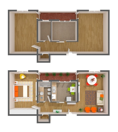 floor plan: An high resolution rendered image of a contemporary interior Stock Photo