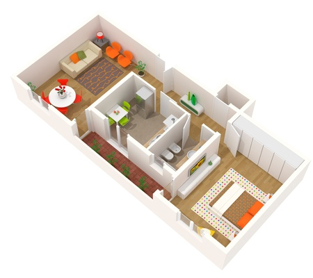 balcony view: High resolution rendered image of a contemporary interior.