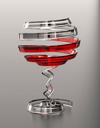 An abstract glass of wine made of a glass ribbon