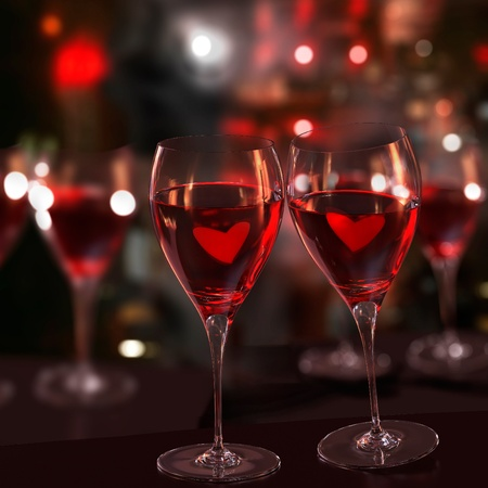 Two glasses of red wine , with two hearts, in toast gesture. Blurred background. Rendered image.