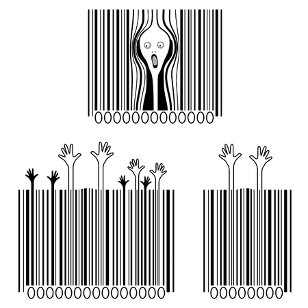 shouting: Three creative and funny barcode.