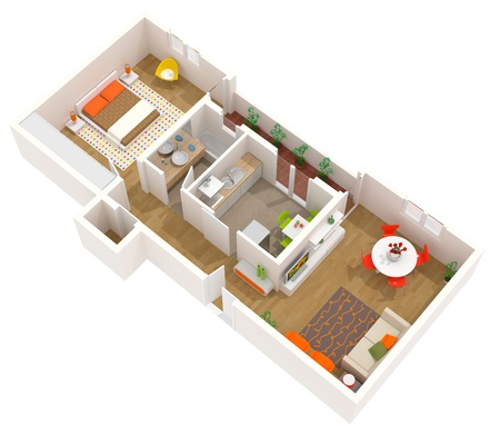 3d apartment: Una imagen de alta resoluci�n de un interior contempor�neo.