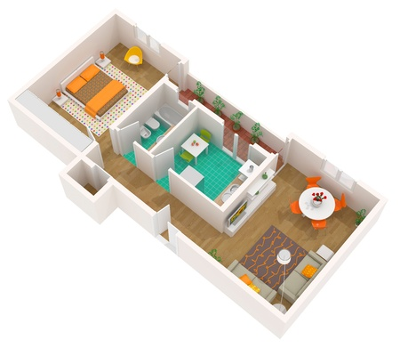 sectioned: High resolution illustration of a contemporary interior. Rendered image Stock Photo