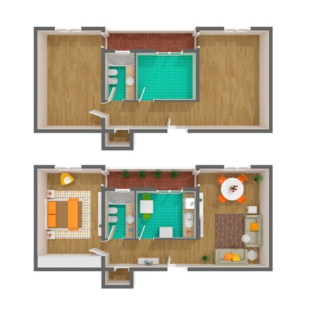 floor plan: High resolution illustration of a contemporary interior. Rendered image Stock Photo