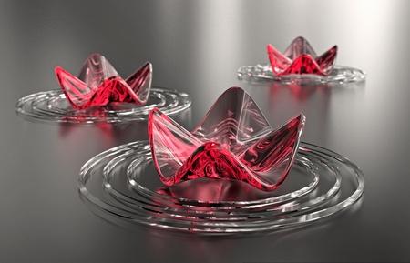 lirio acuatico: Fondo de Zen. Flores de loto Rosa abstracta tres, con espacio de copia. Un equipo generado, imagen de alta resoluci�n.
