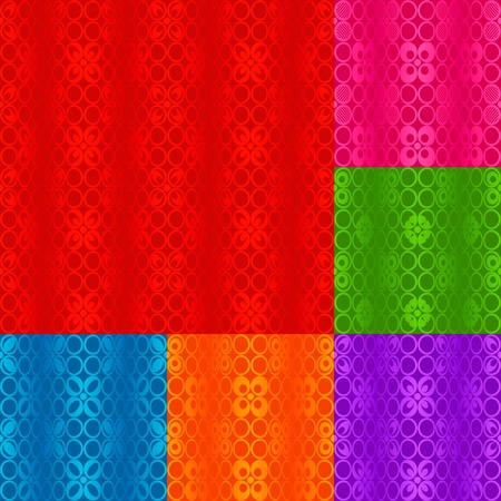 Wavy seamless pattern. Abstract background, six colors combinations Illustration