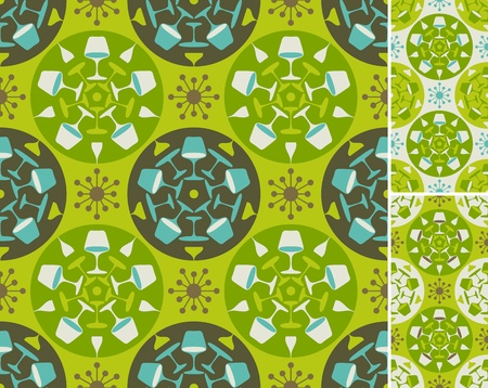 mid century: Green abstract furniture pattern. Seamless background in three color combinations. Easy to use, just click on the swatches to fill your shapes with the pattern.