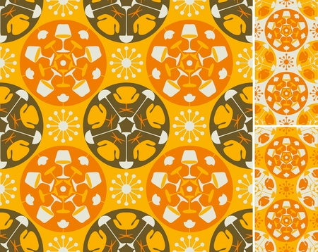 mid century: Orange abstract furniture pattern. Seamless background in three color combinations.  Easy to use, just click on the swatches to fill your shapes with the pattern.