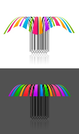 individually: Two colorful creative barcode 3d effect,  individually grouped and layered