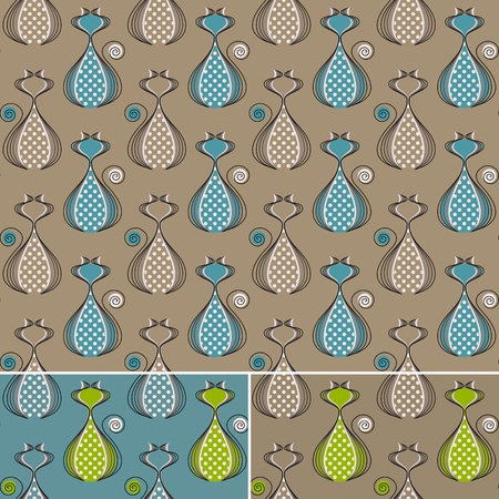 Seamless pattern with stylized cats. Seamless abstract background in three color combinations, no gradients. Easy to use, just click on the swatches to fill your shapes with the pattern.