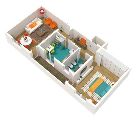 Modern interieur - 3d home-project - appartement. Hoge resolutie gerenderde afbeelding. Stockfoto