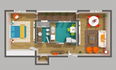 idea comfortable: Interior design - 3d home project  cozy small apartment  High resolution rendered image
